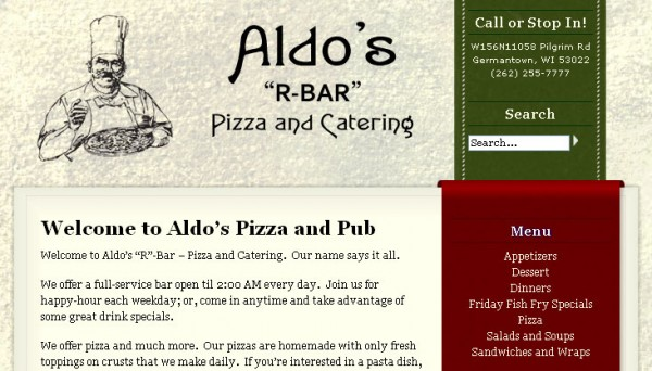 Aldo's Pizza and Pub - Main Page