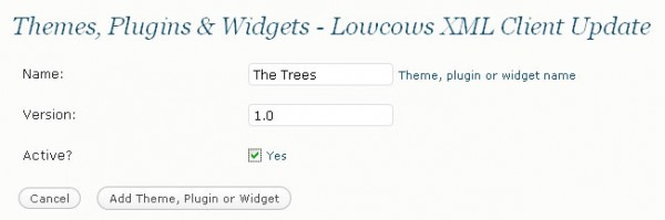 Add New Theme, Plugin or Widget